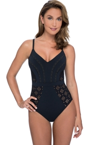 Profile by Gottex Kiss and Tell Black V-Neck One Piece Swimsuit