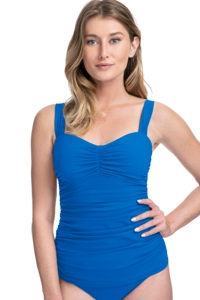 Profile by Gottex Tutti Frutti Blue D-Cup Scoop Neck Shirred Underwire Tankini Top