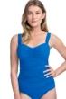 Profile by Gottex Tutti Frutti Blue D-Cup Scoop Neck Shirred Underwire Tankini Top
