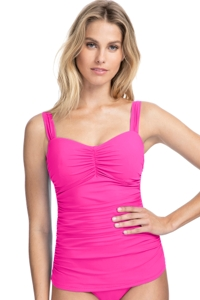 Profile by Gottex Tutti Frutti Pink F-Cup Scoop Neck Shirred Underwire Tankini Top