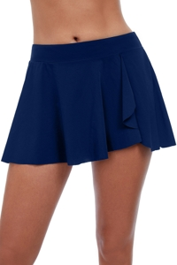 Profile by Gottex Tutti Frutti Navy Ruffle Flyaway Swim Skirt
