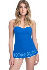 Profile by Gottex Tutti Frutti Blue Bandeau Strapless Shirred Laser Cut Swimdress