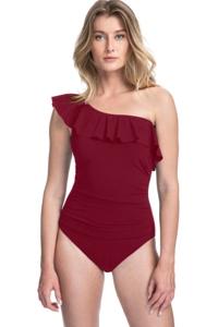 Profile by Gottex Tutti Frutti Merlot Ruffle One Shoulder One Piece Swimsuit