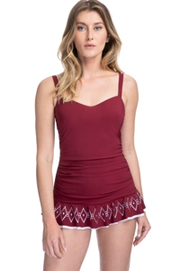 Profile by Gottex Tutti Frutti Merlot D-Cup Scoop Neck Laser Cut Underwire Swimdress