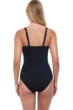 Profile by Gottex Tutti Frutti Black D-Cup Scoop Neck Shirred Underwire One Piece Swimsuit