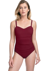 Profile by Gottex Tutti Frutti Merlot D-Cup Scoop Neck Shirred Underwire One Piece Swimsuit