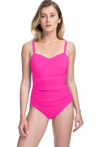 Profile by Gottex Tutti Frutti Pink D-Cup Scoop Neck Shirred Underwire One Piece Swimsuit
