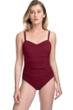 Profile by Gottex Tutti Frutti Merlot E-Cup Scoop Neck Shirred Underwire One Piece Swimsuit