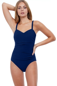 Profile by Gottex Tutti Frutti Navy F-Cup Scoop Neck Shirred Underwire One Piece Swimsuit