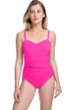 Profile by Gottex Tutti Frutti Pink F-Cup Scoop Neck Shirred Underwire One Piece Swimsuit