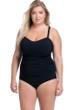 Profile by Gottex Tutti Frutti Black Plus Size Scoop Neck Shirred Underwire One Piece Swimsuit