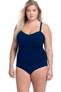 Profile by Gottex Tutti Frutti Navy Plus Size Scoop Neck Shirred Underwire One Piece Swimsuit