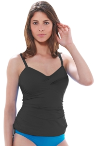 Fantasie Black Versailles D-Cup Twist Front Underwire Side Adjustable Tankini Top