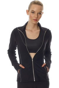 GX by Gottex Black and Silver Metallic Line Fitted Zip Up Jacket