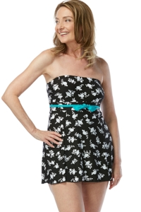 Chlorine Resistant Gabar Shadow Flower Bandeau Swimdress