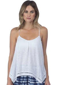 Green Dragon White Pleat Front Easy Tank Top