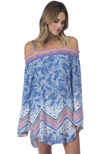 Green Dragon Paisley Scarf Off The Shoulder Tunic