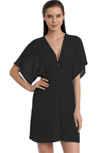 Jordan Taylor Gofret Black Dolman Sleeve V-Neck Cover Up Tunic