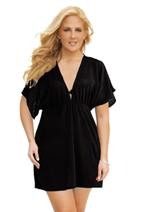 Jordan Taylor Black Plus Size Dolman Sleeve V-Neck Tunic