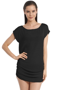 Jordan Taylor Black Gofret Side Shirred Boat Neck Tunic
