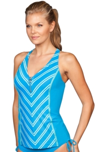 Beach House Bermuda Blue Cape Cod Erinna Racerback Zip Front Tankini Top