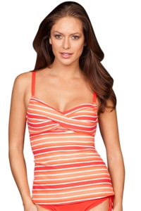 Beach House Tiki Coral Gwyneth Twist Tankini Top