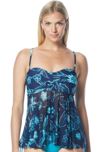 Beach House Dana Point Reese Mesh Front Bandeau Tankini Top