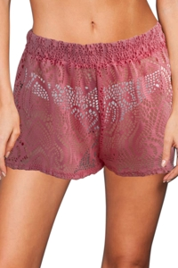 Beach Habitat Coral Heart Crochet Cover Up Short