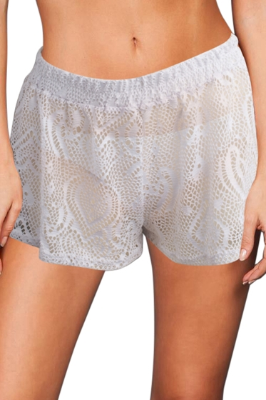 Beach Habitat White Heart Crochet Cover Up Short