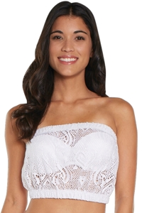 Beach Habitat White Heart Crochet Bandeau Crop Top