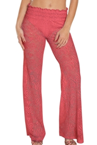 Beach Habitat Coral Heart Crochet Smocked Beach Pant