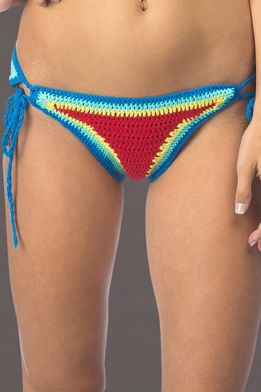 Hobie How Do You Hue Crochet Adjustable Side Tie Hipster Bikini Bottom
