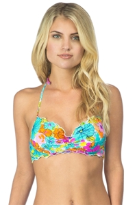 Hobie Fleur To Love Underwire Push Up Ruffle Bralette Bikini Top