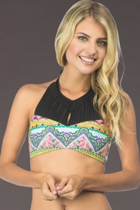 Hobie Desert Daze Macrame High Neck Bikini Top