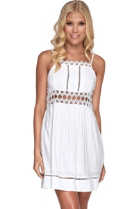 JETS Australia Nouveau White Square Neck Lace Panelled Beach Dress