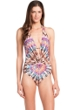 Kenneth Cole Miss Mojave V-Plunge Halter One Piece Swimsuit