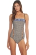 Kenneth Cole Tribal Beat Bandeau Cut Out One Piece Swimsuit