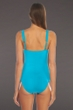 Kenneth Cole Teal Sassyfras Shirred One Piece Swimsuit