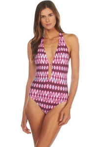 Kenneth Cole Berry Ikat in the Act V-Plunge Halter One Piece Swimsuit