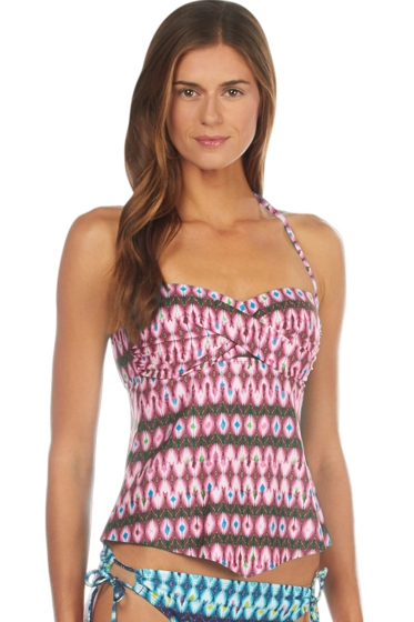 Kenneth Cole Berry Ikat in the Act Tie Twist Front Bandeau Tankini Top