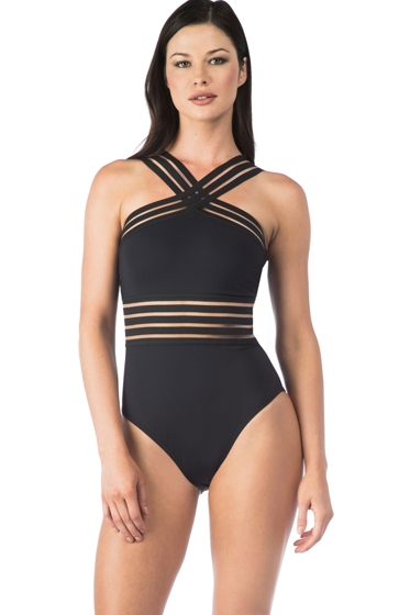 Kenneth Cole New York Stompin' in My Stiletto's Black High Neck One Piece Swimsuit