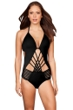 Kenneth Cole New York Sheer Satisfaction Solid Black Cut Out Halter One Piece Swimsuit