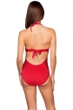 Kenneth Cole New York Sheer Satisfaction Solid Red Cut Out One Piece Swimsuit