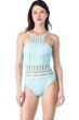 Kenneth Cole New York Tough Luxe Aqua High Neck One Piece Swimsuit