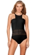 Kenneth Cole New York Solid Black Tough Luxe Textured High Neck One Piece Swimsuit