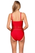 Kenneth Cole New York Solid Red Tough Luxe Textured High Neck One Piece Swimsuit