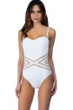 Kenneth Cole New York Tough Luxe White Bandeau Textured One Piece Swimsuit
