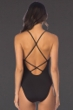 Kenneth Cole Black Weave Cross Back One Piece Swimsuit