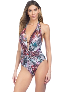 Kenneth Cole Pure Instincts Plunge Twist Halter One Piece Swimsuit