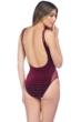 Kenneth Cole Burgundy Velvet Stripe Mesh High Leg One Piece Swimsuit